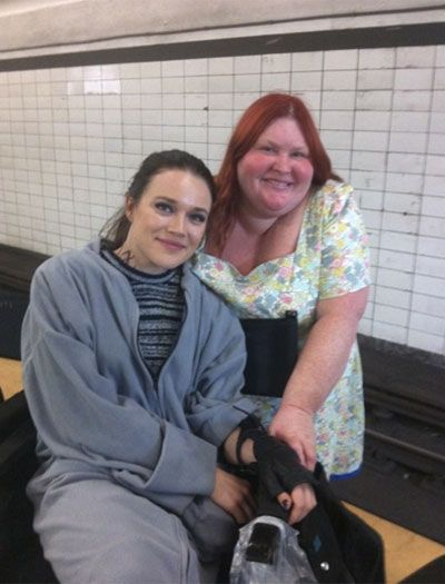 Jemima West and Cassandra Clare on the City of Bones set