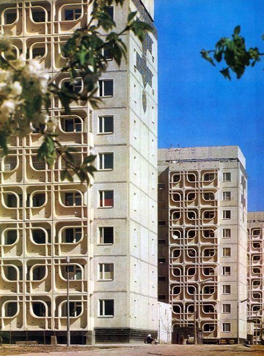 Blocks of Flats in Residential Area C 27, Tashkent, Uzbekistan, 1973 Architect: S.Adylov, I.Koptelova and G.Korobovtsev