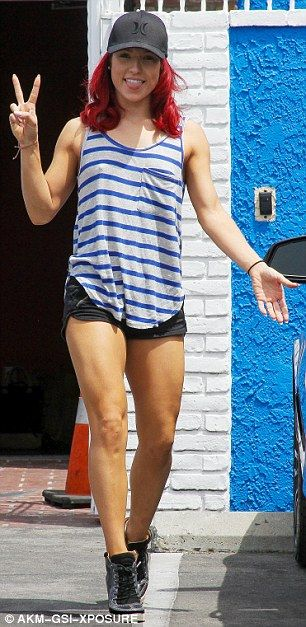 Dancing With The Stars' Sharna Burgess covers up in striped tank-top in Hollywood   Daily Mail Online