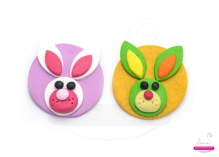 Polymer clay bunny magnets