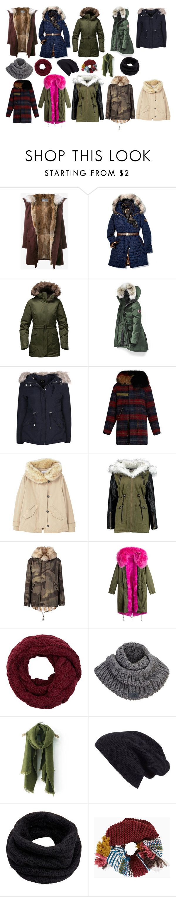 """Polar Vortex Parka Party !"" by sassyethnicboho ❤ liked on Polyvore featuring Yves Salomon, Gorski, The North Face, Canada Goose, New Look, Mr & Mrs Italy, MANGO, adidas, Halogen and Helmut Lang"
