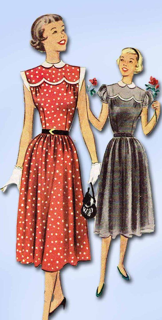 """McCall's Pattern 8377 Junior Misses Dress Pattern with Scalloped Trim Dated 1951 Complete Nice Condition 14 of 14 Pieces Counted. Verified. Guaranteed Nice Condition Overall Size 9 (28"""" Bust) We Sell"""