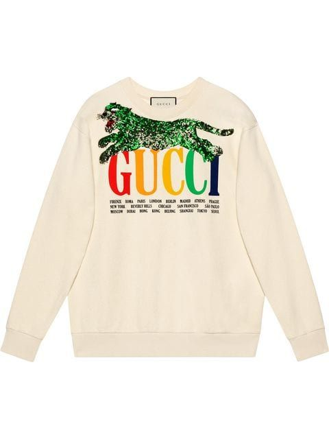 d118af7e2b2 Gucci Gucci Cities Sweatshirt With Sequin Panther in 2019