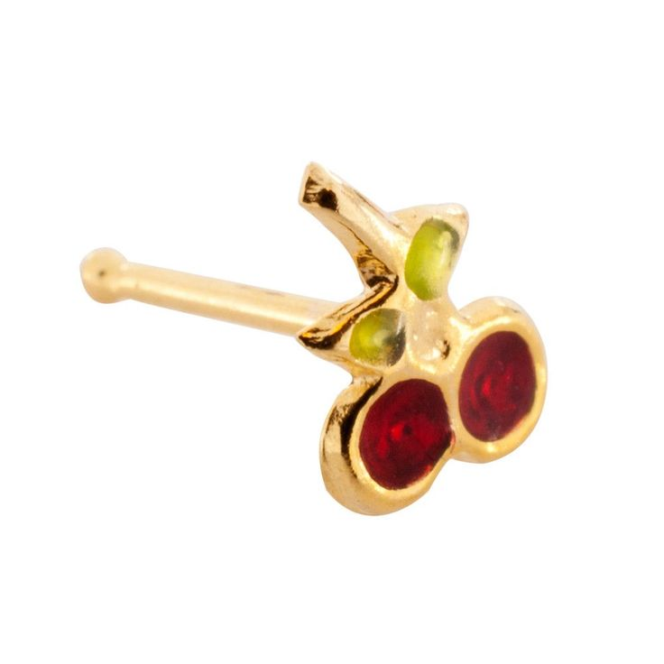 20 Gauge 14K Yellow Gold Hand Painted Cherry #1 Nose Bone Real