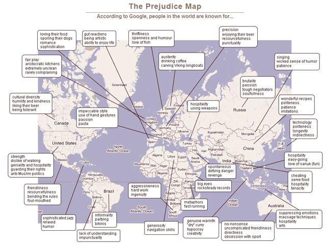 El mapa de los estereotipos en Internet