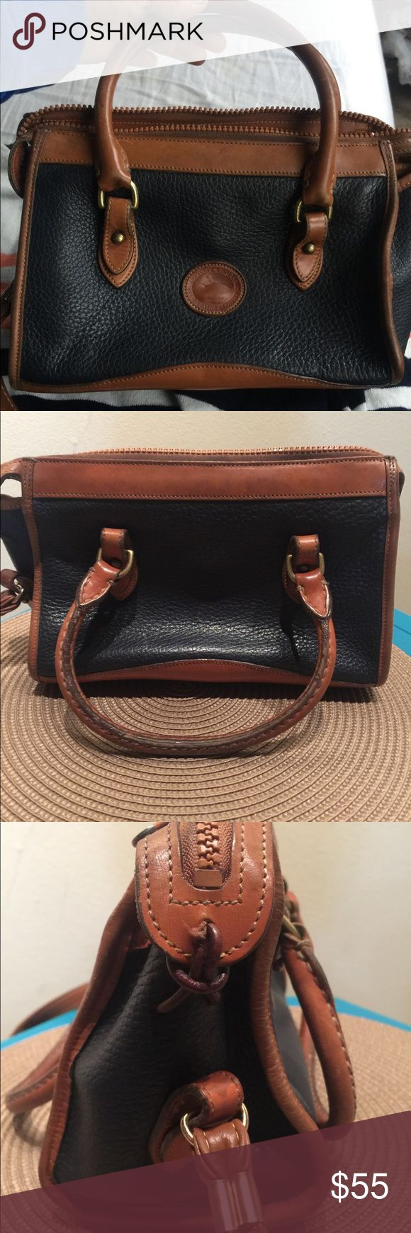 "Vintage Dooney & Bourke Navy Blue & Brown Satchel Navy blue with Dark Brown leather trim Bag depth 4"" Bag length 11.5"" Bag height 8"" Medium sized Bag Satchel  Lots of storage space Dooney & Bourke Bags Satchels"