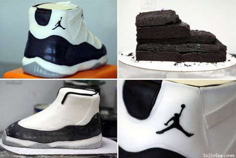 """A detailed step by step process on How to Make a Air Jordan 11 """"Concord"""" Sneaker Cake with images to show you how to make your own sneaker cake."""