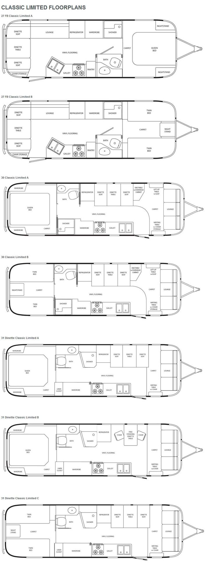 Airstream Classic Limited travel trailer floorplans