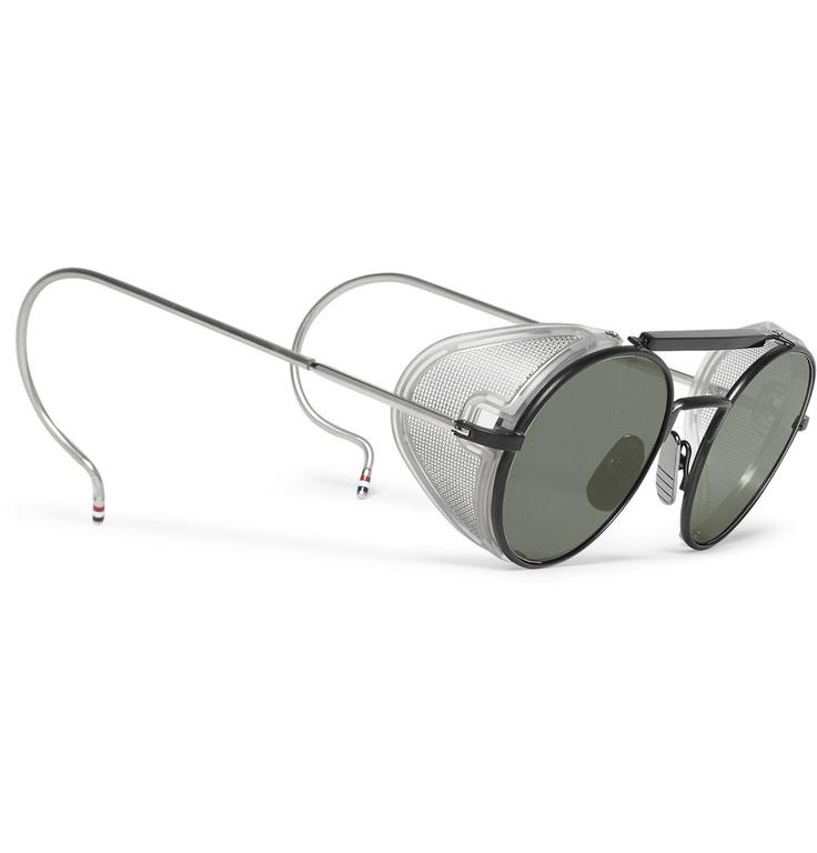 Thom BrowneRound-Frame Mesh-Trimmed Titanium Sunglasses|MR PORTER