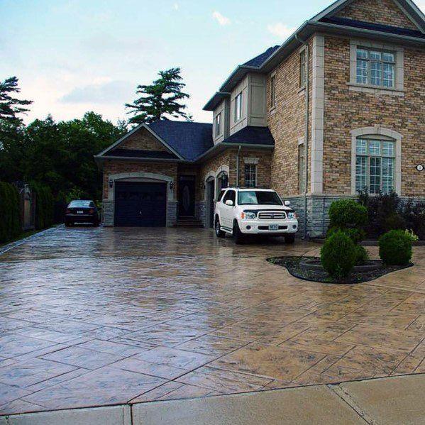 Top 50 Best Concrete Driveway Ideas Front Yard Exterior Designs Concrete Patio Designs Front Yard Design Concrete Driveways