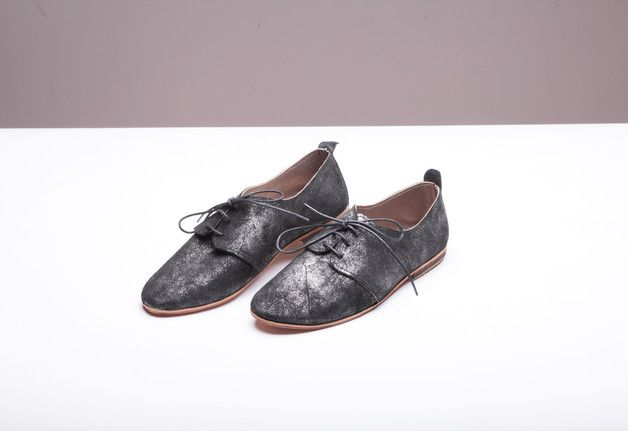 via en.dawanda.com Ballet Flats – handmade black leather oxford shoes   onyx black – a unique product by thewhiteribbon on DaWanda