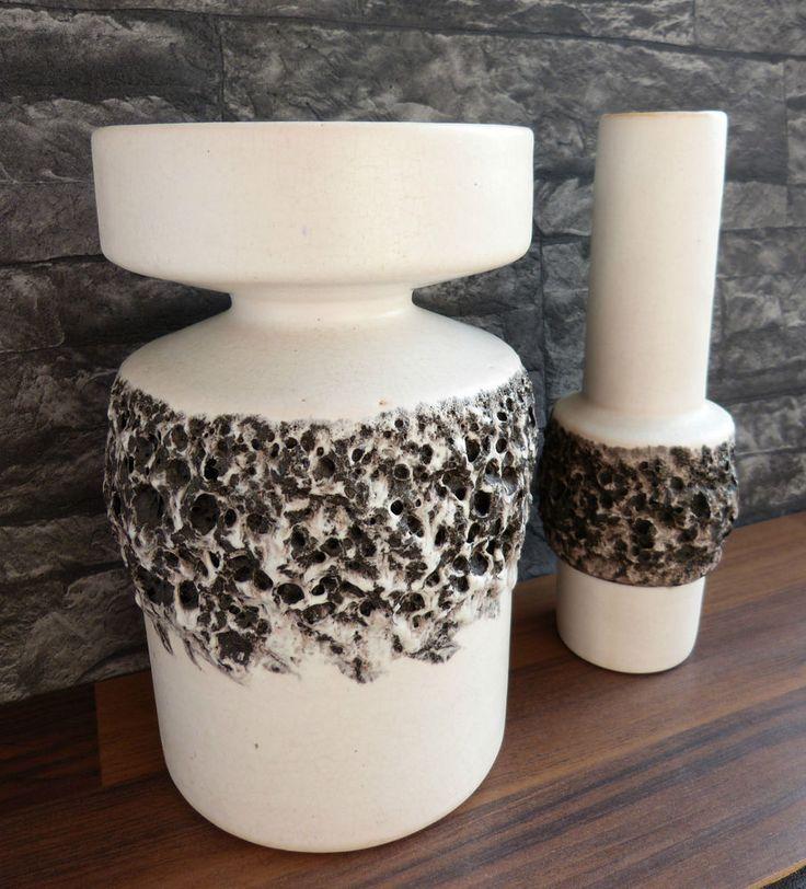 70s OTTO Gerharz Keramik 2 VASEN WGP german pottery fat lava ceramic vases white