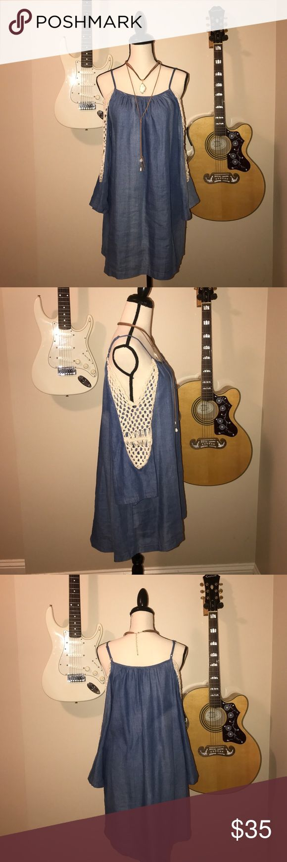 Cold shoulder bell sleeve denim dress 🌻 Gorgeous cream crochet detailing on sleeves. umgee Dresses Mini
