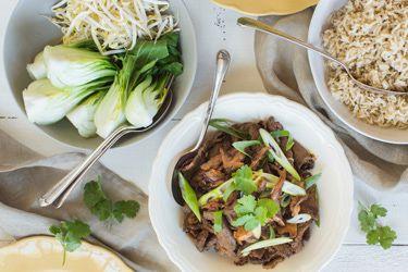 Beef and shiitake stir-fry