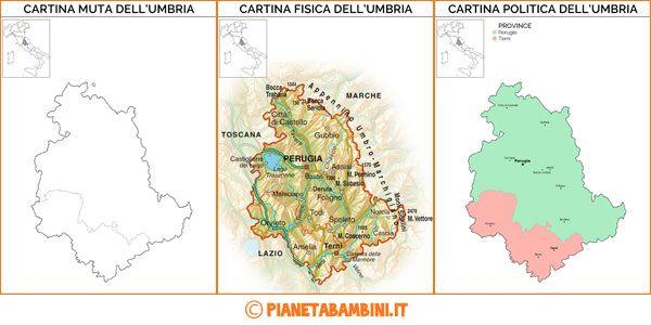 Cartina Muta, Fisica e Politica dell'Umbria da Stampare