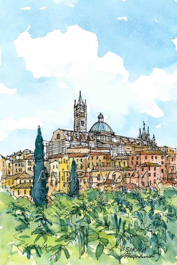 Siena 6 Italy Art Print From An Original Watercolor Painting