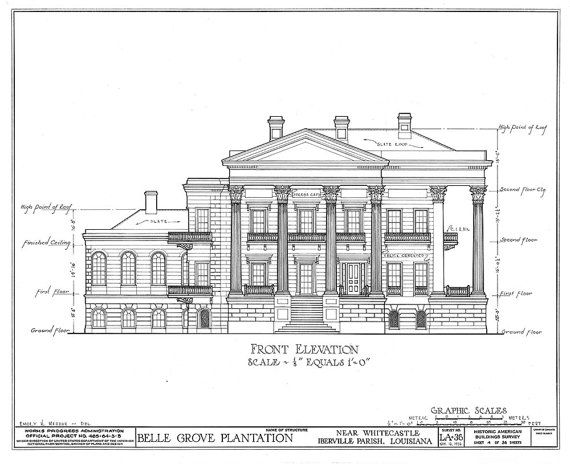 10 best architecture art images on pinterest architectural belle grove architectural drawing blueprint 18 by colorwheelprints malvernweather Image collections