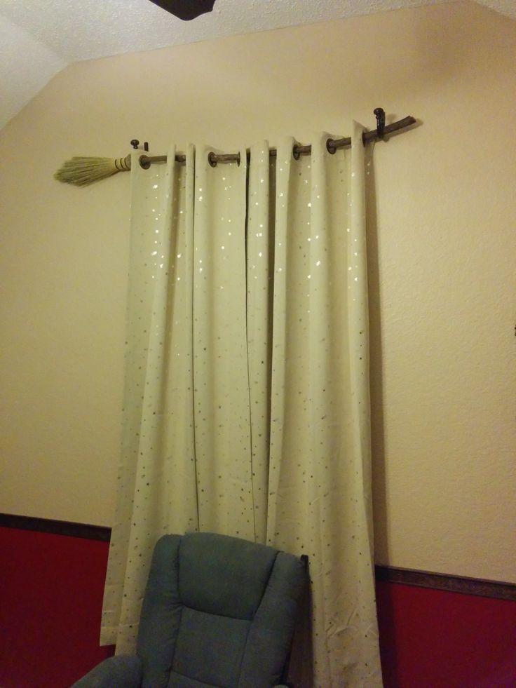 Broom as curtain rod