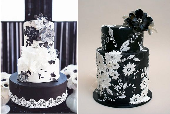black wedding cakes by Nevie Pie, Cristina Rossi Photography and Ron Ben Israel for Martha Stewart Weddings
