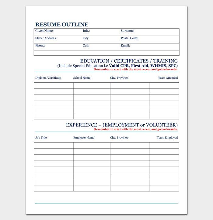 Blank Resume Outline for PDF