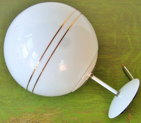Mid century modern glass ceiling light fixture white for Mid century modern globe pendant light