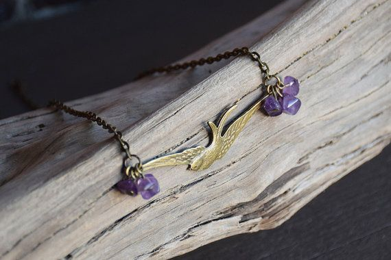 Bird Charm Necklace  Amethyst  Seagull  Swallow by AtticRoomStudio