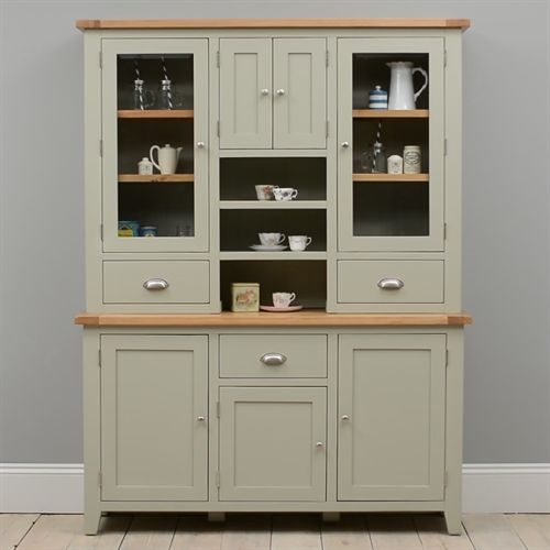 French Kitchen Dresser: Caldecote French Grey Large Glazed Dresser