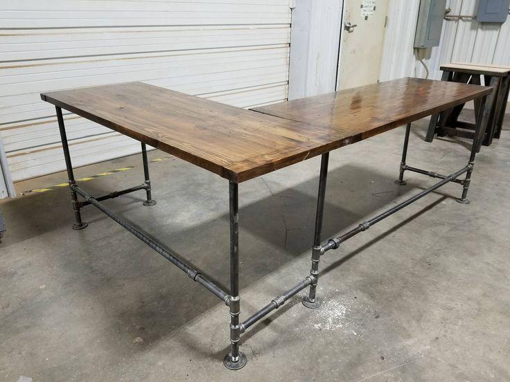 L-Shaped Rustic Desk, Industrial  Computer Desk, Large Office Gaming Desk, Corner Desk by JuneWoodworks on Etsy https://www.etsy.com/listing/578074981/l-shaped-rustic-desk-industrial-computer