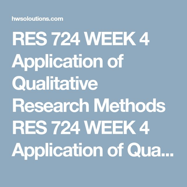 RES 724 WEEK 4 Application of Qualitative Research Methods RES 724 WEEK 4 Application of Qualitative Research Methods RES 724 WEEK 4 Application of Qualitative Research Methods Qualitative researchers produce a research protocol and a research script. The research protocol is the template the researcher uses to conduct the research and ensures that all aspects of the research have been covered. The research script is the actual data collection tool that includes the interview questions…