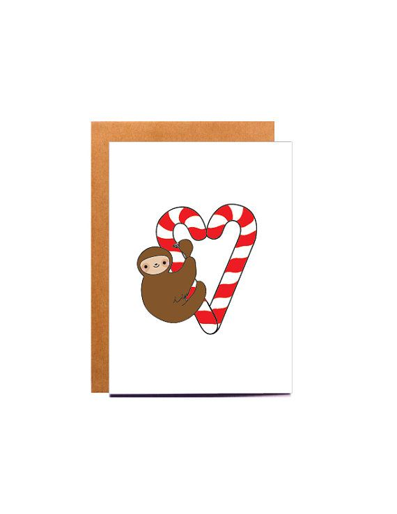 Sloth Christmas Card, by BeccyKittyDesigns