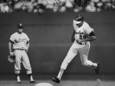 Orioles Player, Frank Robinson, During Game Between the Orioles Vs. Dodgers in the World Series
