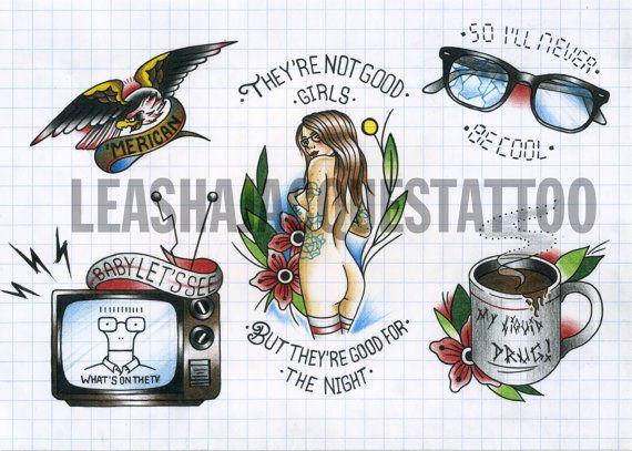 Flash tatuaggio tradizionale punk ispirato 29 cm x 21 cm di MissKittysCurios   Etsy