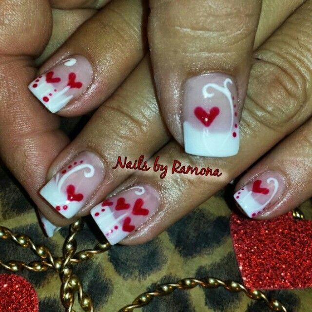 Valentines nail art. Nails by Ramona.