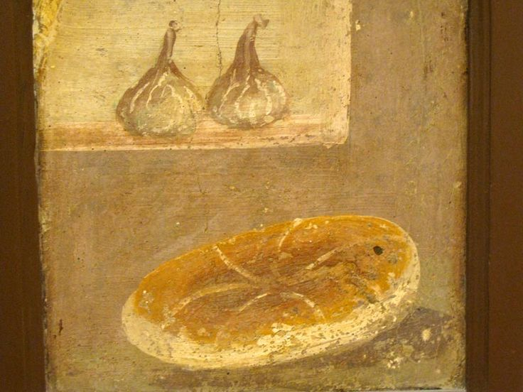 Mediterranean diet in Pompeii frescoes, 1st c. A.D. - Bread and figs