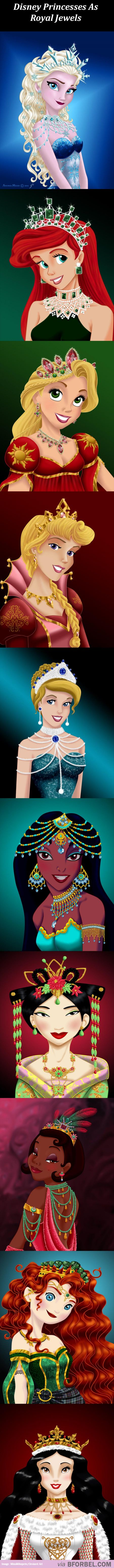 Disney princesses as jewels