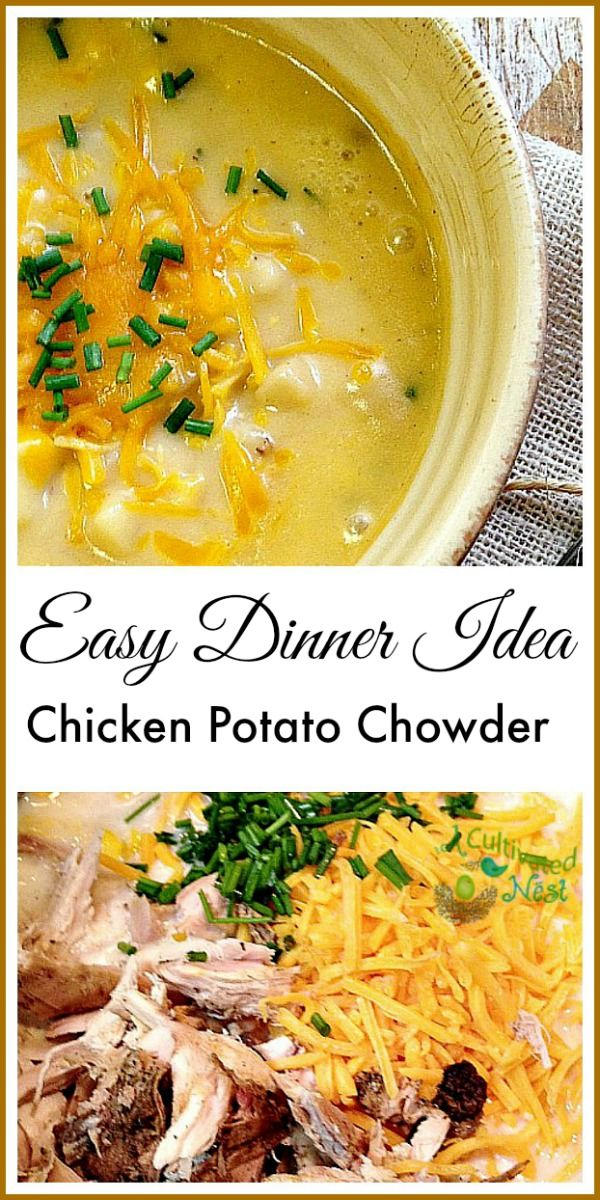 Winter is here and this creamy chicken potato chowder is the perfect cold weather meal! It's easy to make (uses a rotisserie chicken from the grocery store), can feed a crowd, and is wonderfully hardy!