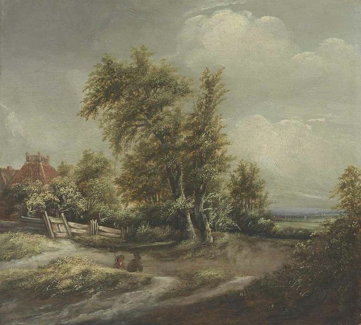 Jan Vermeer van Haarlem I (Haarlem 1628-1691)  A dune landscape with figures and a house beyond