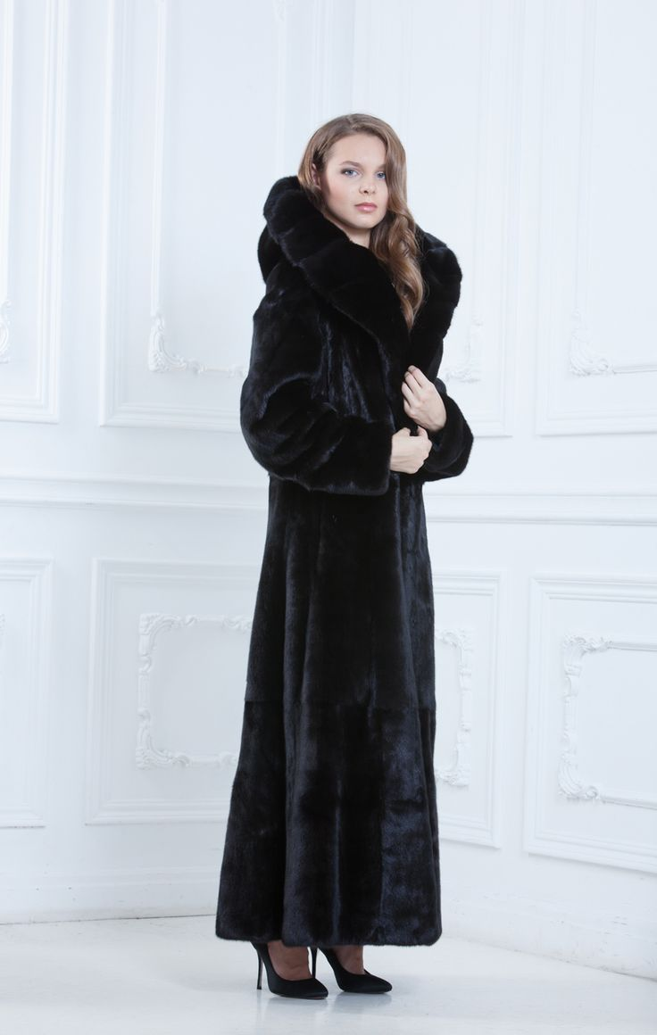 Details about DEEP BLACK COLORED MINK FUR COAT / JACKET - NERZ ...