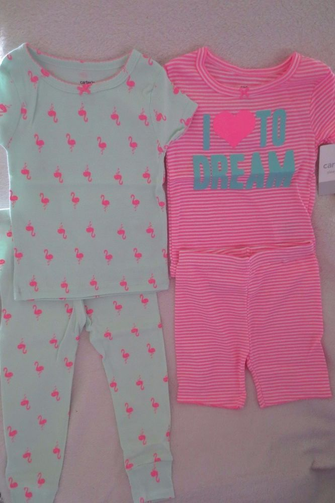 Carter's Baby Girl 4 Piece Set Size 18 Months Sleepwear Flamingo New  #Carters #FourPiece