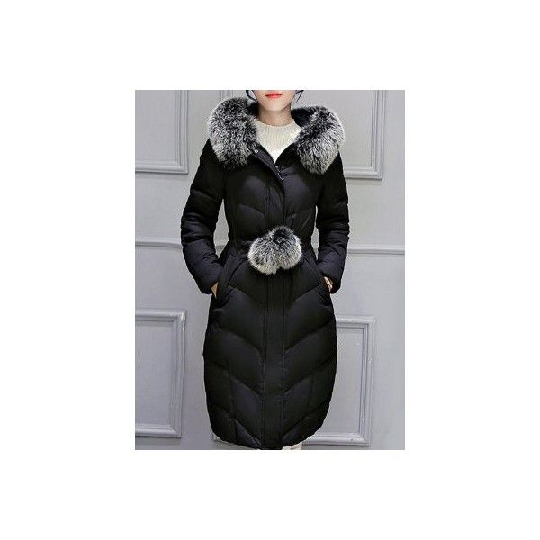 Hooded Long Quilted Coat (84 BAM) ❤ liked on Polyvore featuring outerwear, coats, long coat, hooded coat, quilted coat, long quilted coat and long hooded coat