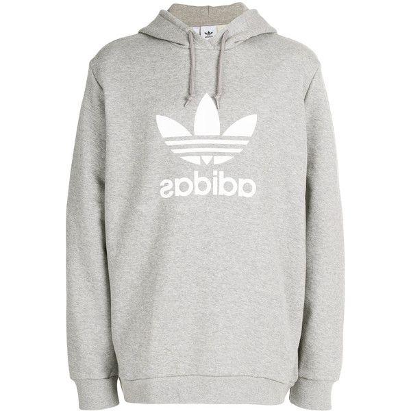 Adidas Adidas Originals Trefoil hoodie (585 NOK) ❤ liked on Polyvore featuring men's fashion, men's clothing, men's hoodies, grey, mens sweatshirts and hoodies, mens grey hoodies, mens hoodies and adidas mens hoodies