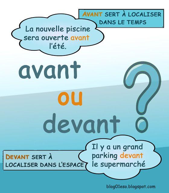 Français langue étrangère: PRÉPOSITIONS: AVANT/DEVANT