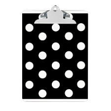 Awesome Black And White Polka Dots Clipboard