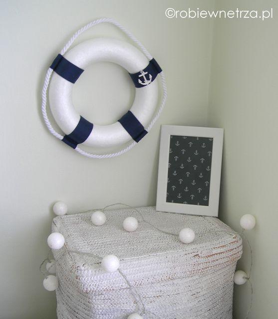 Marynistyczne dekoracje, morskie dekoracje, koło ratunkowe diy, koło ratunkowe dekoracja, marynistyczne dodatki