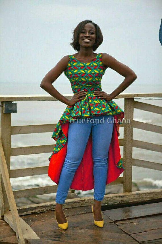 Ankara top, ankara blouses, ankara flare peplum top, african clothing, African…