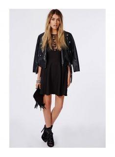 Dantel Patenci Siyah Elbise