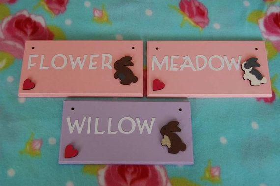 Handmade Rabbit / Bunny Indoor Name plaque/ by FairylandDecor