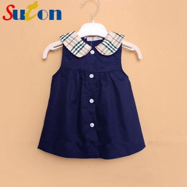 2017 Summer New Baby Girl Dress Sleeveless Plaid Doll Collar Mini A-Line Princess Dress Cute Button Cotton Kids Clothing 0-2 y