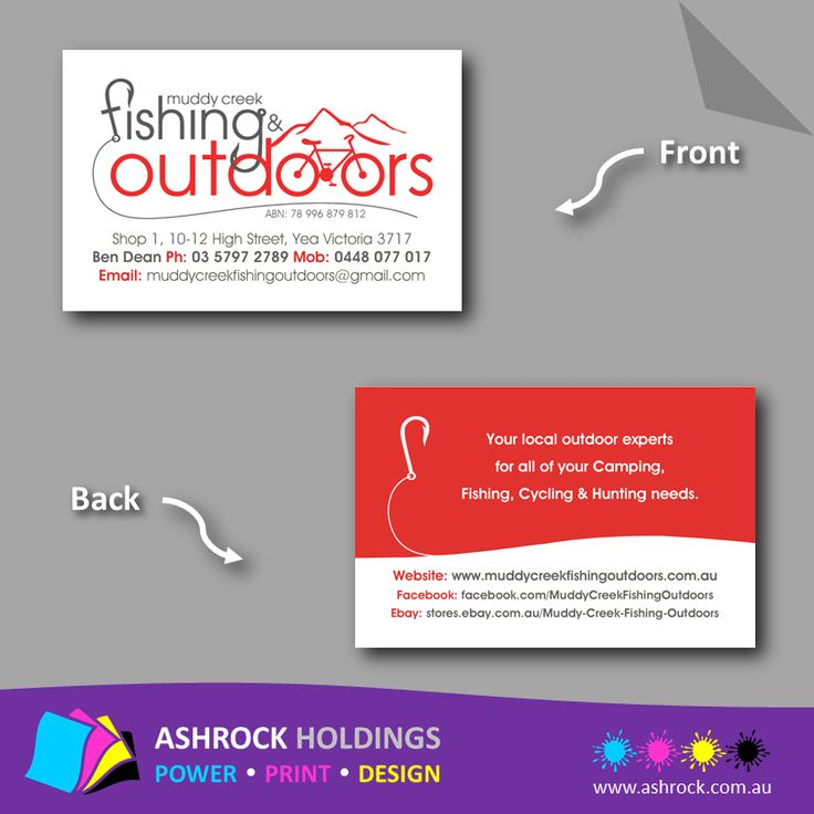 Our December competition winner's business cards - Muddy Creek Fishing & Outdoors  #businesscards #fishing #camping #outdoors