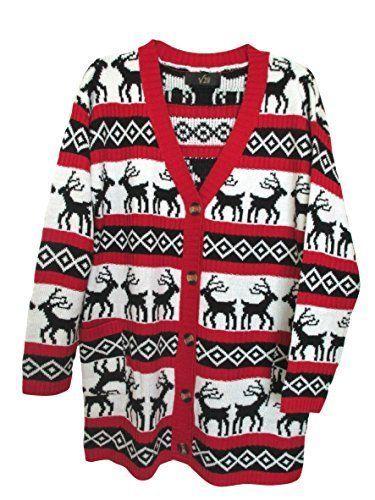 v28 Womens Oversized Christmas Reindeer Cardigan  v28  Doesnotapply   Christmas 51cb03dee4e8